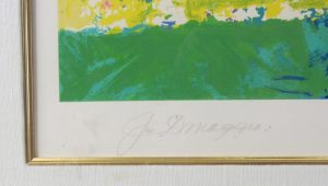 Joe DiMaggio pencil autograph on a Leroy Neiman print.  The print was also limited edition numbered and signed by the artist.
