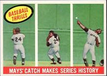 1959 Topps Baseball Thrills Willie Mays