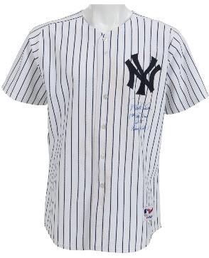 Autographed game worn Derek Jeter grand slam homer jersey