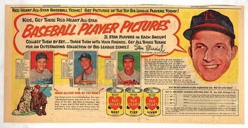 1954 Red Heart baseball card advertisement