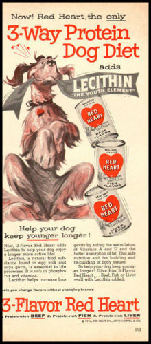 1950s Red Heart Dog Food ad