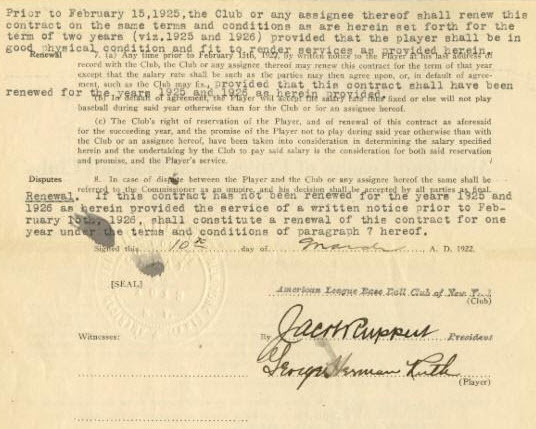 Babe Ruth 1922 contract