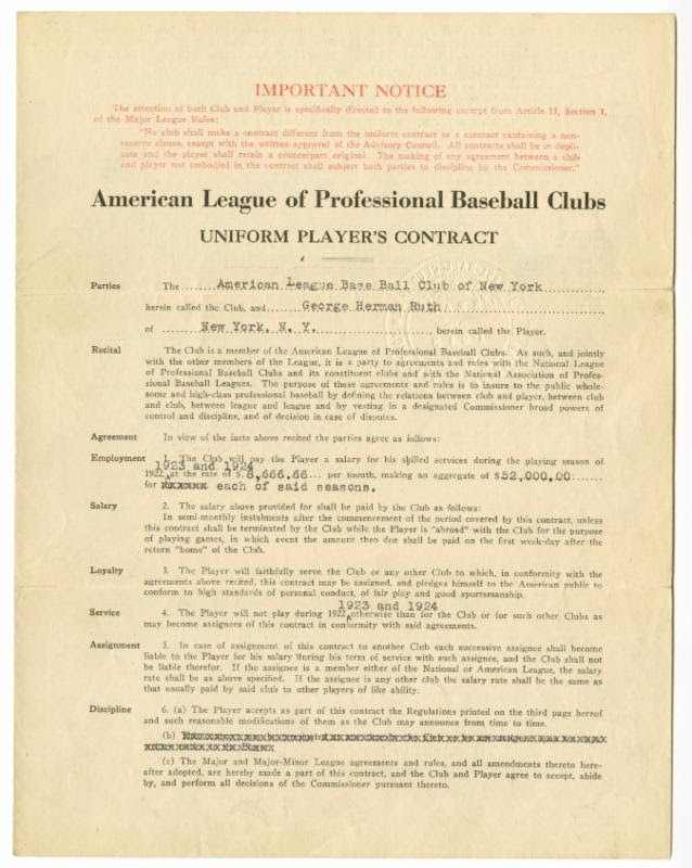 Babe Ruth 1922 Yankees contract