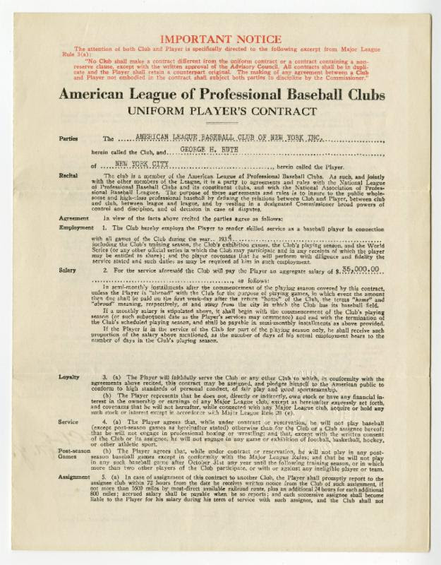 Babe Ruth 1934 contract Yankees