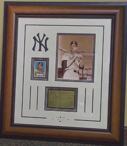 Autographed Mickey Mantle photo framed