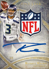 Russell Wilson autographed NFL shield patch card