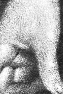 Closeup detail of a mezzotint showing the cross-hatching lines.