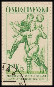 Engraved Czechoslovakian World Cup soccer stamp