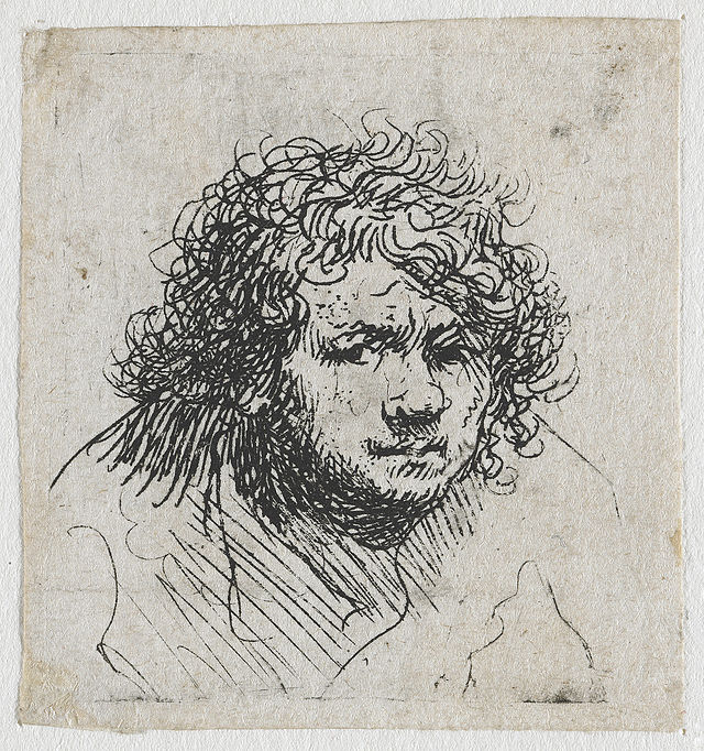 Rembrandt self-portrait etching showing the free, sketch-like lines of etching
