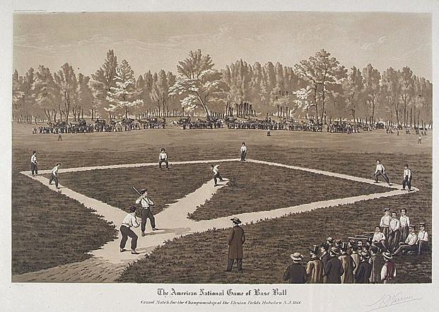Aquatint of a baseball game