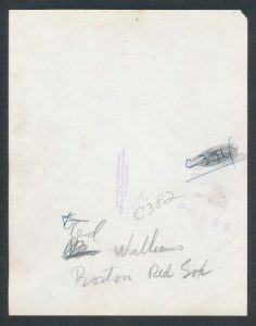 Back of Ted Williams photo