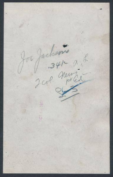 Back of 1916 Joe Jackson photograph