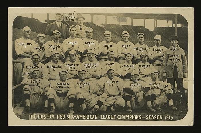 Babe Ruth 1915 Red Sox team photo postcard