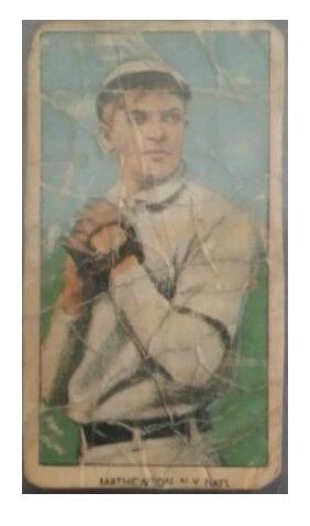 Fake 1909 t206 Sweet Caporal Christy Mathewson  white cap cut auto card