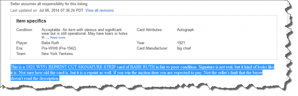 for SCD piece, Babe Ruth Reprint, Item Description