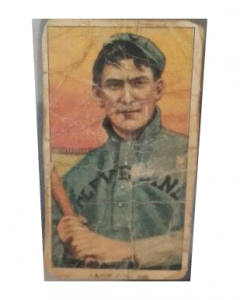Artificially aged 1909 t206 Old Mill Nap Lajoie with bat cut auto card