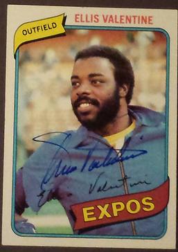 Ellis Valentine autographed 1980 Topps card