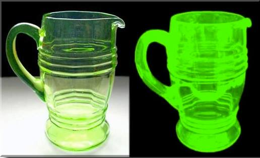 Uranium glass is yellow to light green in normal light, and fluoresces a very bright yellow or light green under black light.
