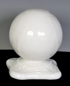 1800s milk glass figural baseball