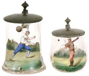 1800s hand blown and painted glass baseball mugs (Robert Edward Auctions)