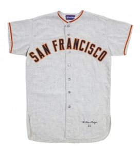 Willie Mays game issue jersey 1961