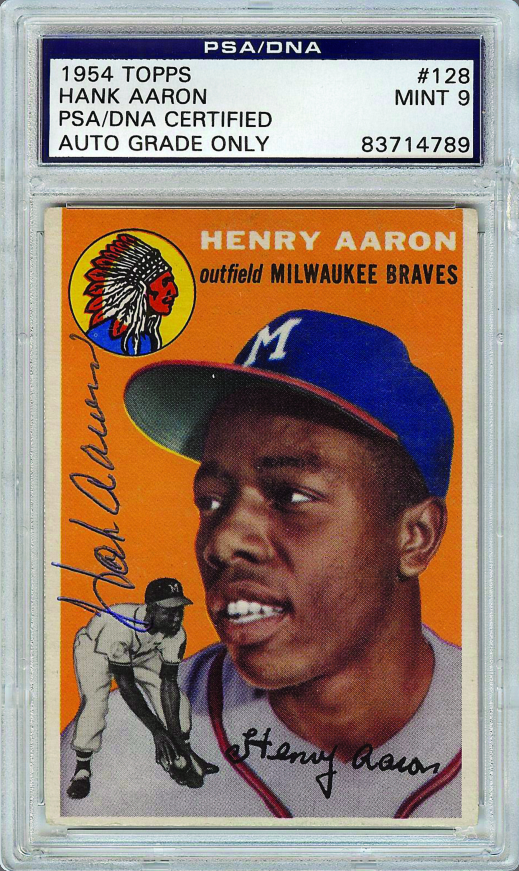 Topps 1954 Hank Aaron signed card