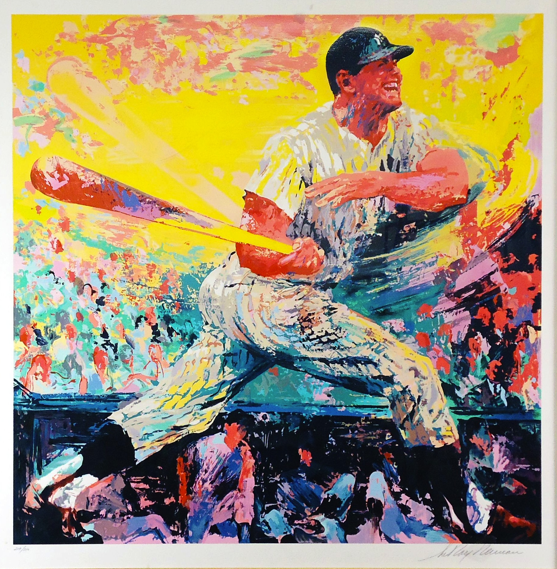 Screen print of Mickey Mantle by Leroy Neiman