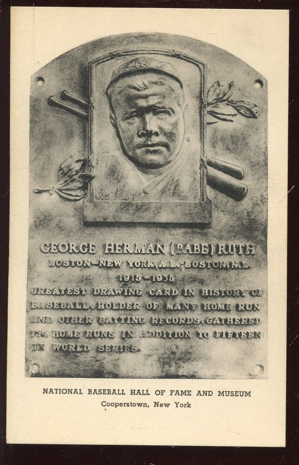 Albertype Co. collotype Baseball Hall of Fame postcard of Babe Ruth