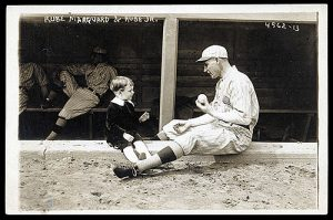 New York Giants pitching ace Rube Marquard and his son, 1918
