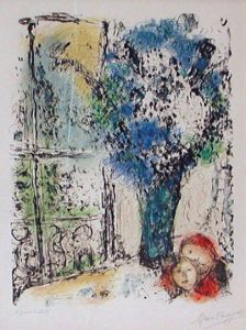 Original handmade ithograph by famed French artist Marc Chagall