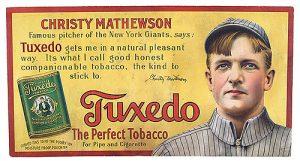 1910 Tuxedo Tobacco Christy Mathewson Ad Sign