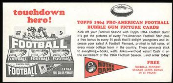 1964 Topps football advertising