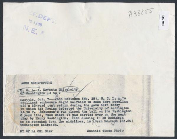 1939 Jackie Robinson football caption