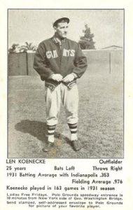Len Koenecke Giants 1932 schedule postcard