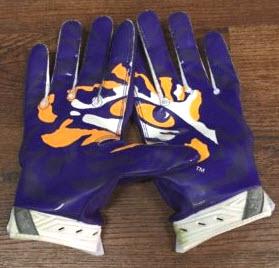 Game-worn LSU football gloves