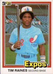 Tim Raines 1981 Donruss rookie card