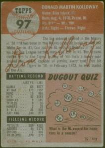 """1953 Topps Don Kolloway - """"white letter"""" variation"""