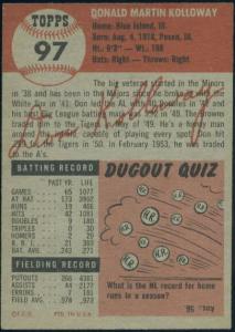 """1953 Topps Don Kolloway - """"black letter"""" variation"""
