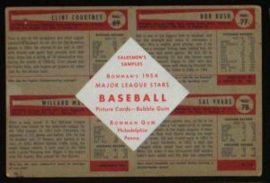 1954 Bowman salesman sample back