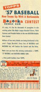 1957 Topps salesman sample panel back