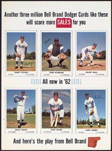 1962 Bell Brand Dodgers Window Ad Poster