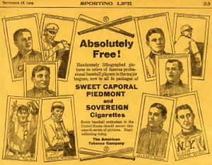 1909 Sporting Life page advertising T206 cards