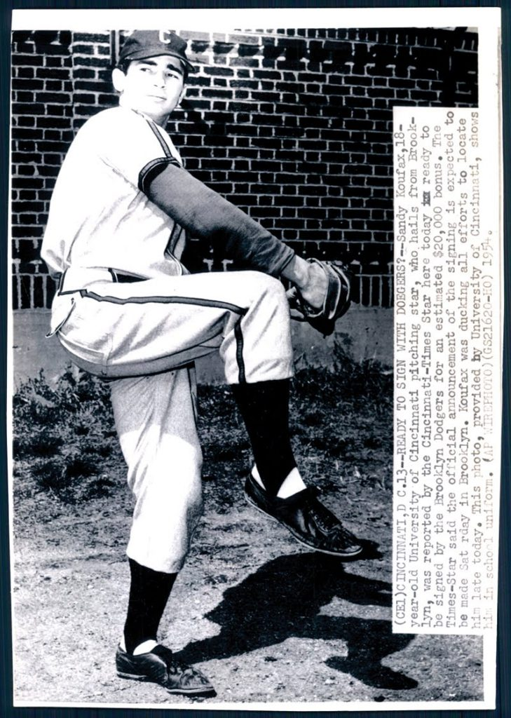 Sandy Koufax University of Cincinnati 1951 wirephoto
