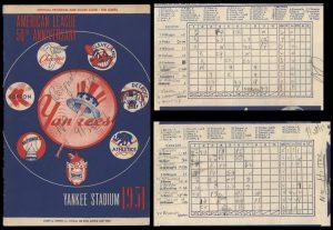 No-hitter 1951 scorecard Allie Reynolds