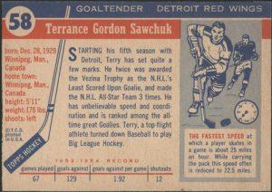 Back 1954-55 Topps Hockey