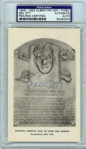 Mel Ott Autographed HOF postcard