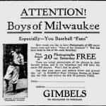 Gimbels 1916 baseball card ad