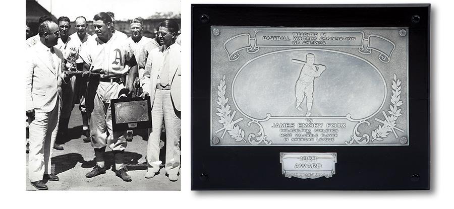 Jimmie Foxx MVP plaque 1933