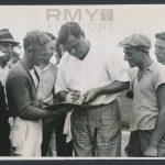 Babe Ruth signing autographs 1935
