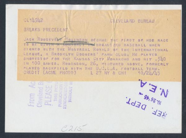 1945 Robinson signing caption